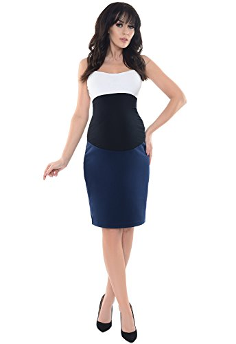 Purpless Maternity Formal Pencil Midi Skirt Over Under Belly Office Work 1504 (14, Navy)