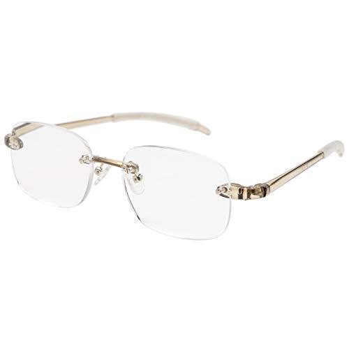 藤田光学 老眼鏡 メンズ 1.5 度数 ふちなし 弾性樹脂フレーム クリアグレー RK-07+1.50