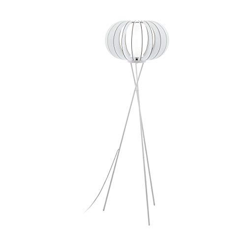 EGLO Stehlampe Stellato 2, 1 flammige Stehleuchte Vintage, Standleuchte aus Stahl, Holz und Glas, Wohnzimmerlampe in weiß, Lampe mit Tritt-Schalter, E27 Fassung