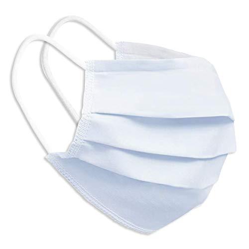 Behelfsmaske Alltagsmaske Community-Maske - Farbe weiß - mehrfach verwendbar (waschbar) - mit Nasenclip - Behelfsmundschutz Mundbedeckung Spuckschutz