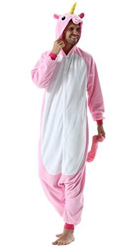 Pijama Animal Entero Unisex para Adultos con Capucha Cosplay Pyjamas Ropa de Dormir Kigurumi Traje de Disfraz para Festival de Carnaval Halloween Navidad Rosa Unicornio