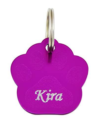 Hanessa Colgante con forma de huella de perro en color lila con grabado de la marca de dirección,...
