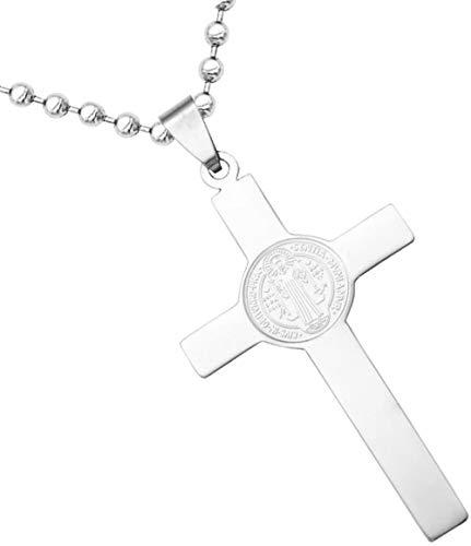 Collar de crucifijo cruzado con cadena For mujer for hombre genérico Jesús collar de cruz de la manera pendiente de la joyería collar de cadena de plata chapado en oro Collar de joyería cristiana cató