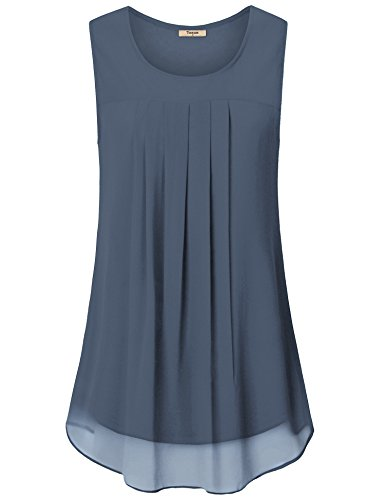 Timeson Sleeveless Blouses for Women Work, Women's Loose Fit Summer Tank Tops Swing A Line Pleated Front Elegant Chiffon Tunic Shirt Business Casual Tops for Leggings Blue Gray Large