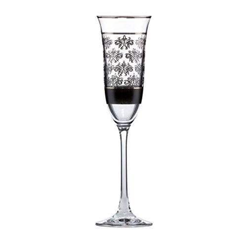 Goebel Floral Sektglas, Sektflöte, Glas, schwarz-weiß, 25 cm