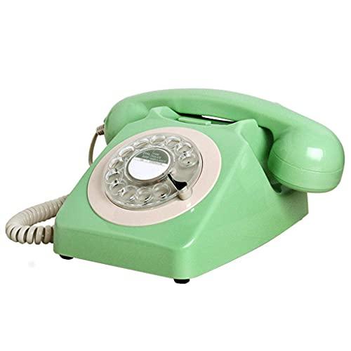 HAOJON Teléfono Antiguo Continental Retro Oficina en casa Línea Fija Dial Giratorio Sala de Estar Dormitorio Línea Fija (Verde Rosa Azul Marfil)
