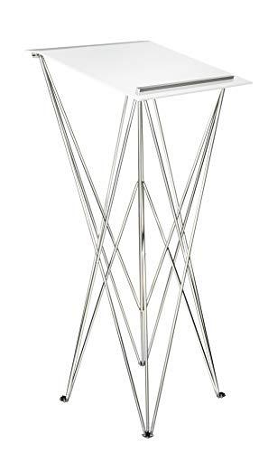 Spider Pult – Stehpult faltbar, leicht und stabil – Schreibpult mobil in verschiedenen Höhen und Farben - Aluminium und Acryl - Rednerpult (Weiss, Höhe 115 cm)