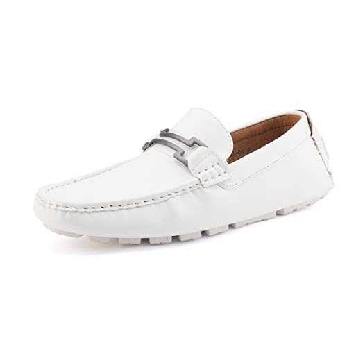 Bruno Marc Men's Hugh-01 White Faux Leather Driving Penny Loafers Boat Shoes - 11 M US