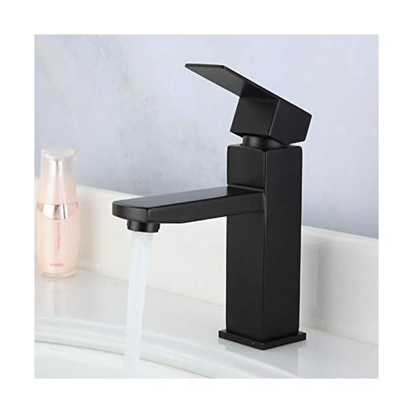 grifo de lavabo cuadrado de acero inoxidable negro, baño de pintura fría y caliente