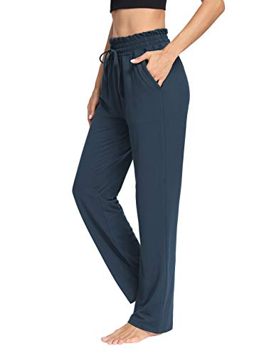 THANTH Womens Yoga Sweatpants Loose Wide Leg Comfy Lounge Pajama Pants Drawstring Straight Workout Joggers with Pockets Navy M