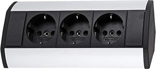 Regleta de 3 enchufes (horizontal y vertical, 230 V, 3680 W), color negro y plateado