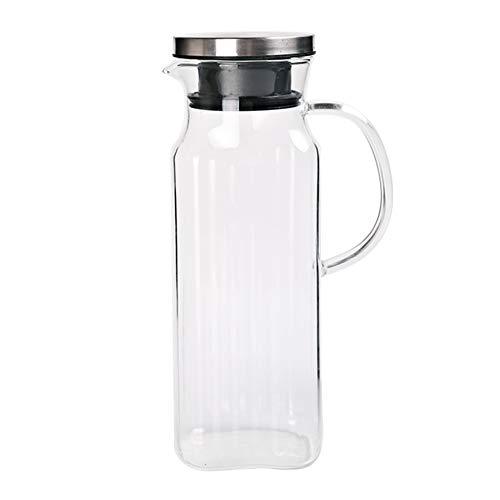 Jarra de agua con tapa, 34 oz/1000 ml, jarra de vidrio para jarra de agua para té caliente, zumo de café, nevera y estufa