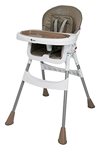 Clamaro 'babyHIGH' Baby und Kinder Hochstuhl klappbar ab 6 Monate mit 3-fach verstellbarem 2in1 Tisch inkl. Tablett (herausnehmbar), 5-Punkt Gurt, Anti-Rutsch Standfüße - braun/weiß