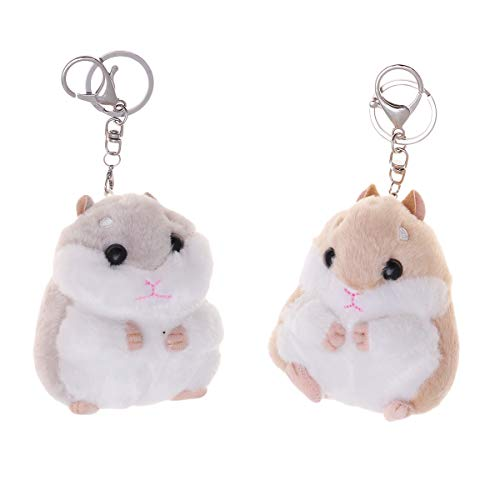 Toyvian Porte-clés en Peluche Hamster pour Femme,2Pcs