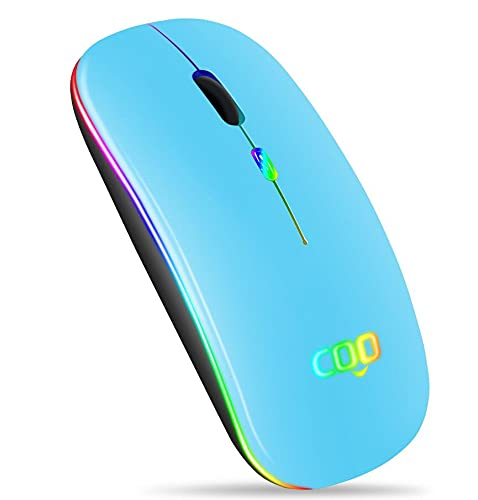Bluetooth Wireless Mouse, Slim Dual Mode(Bluetooth 5.0 and 2.4G Wireless) Rechargeable Wireless Mouse with 3 Adjustable DPI for MacBook, Laptop, MacOS 10.10, Android 5.0, Windows 8 or Above