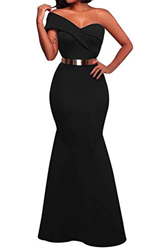 SEBOWEL Woman Formal Strapless One Shoulder Flounce Party Wedding Maxi Dresses Gowns Black XL