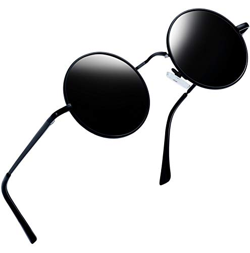 Joopin Redondas Gafas de sol Polarizadas Retro Vintage John Lennon Círculo Metálico Hippie Steampunk para Hombres y Mujeres UV400 (Embalaje negro UNI)
