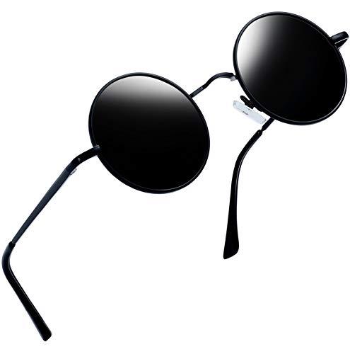 Joopin Polarized Lennon Round Sunglasses Women Men Circle Hippie Sun Glasses (Black Simple Packaging)