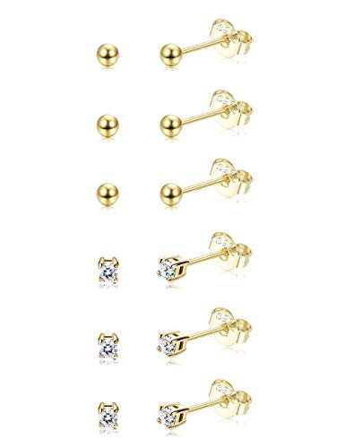 Sllaiss 6 Pairs Sterling Silver Tiny Ball Stud Earrings for Women Girls Round CZ Earrings Set Gold