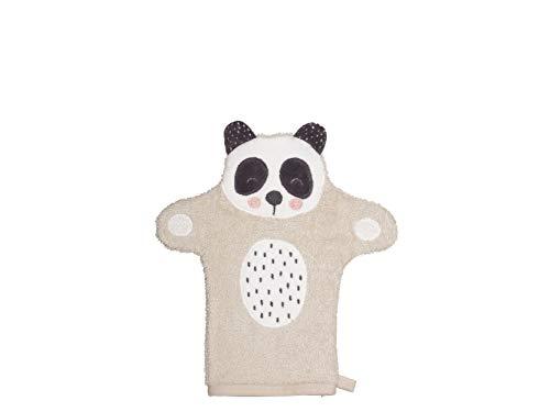 Södahl Penny Panda - Manopla de baño (algodón, 21 x 11 cm), Color Beige