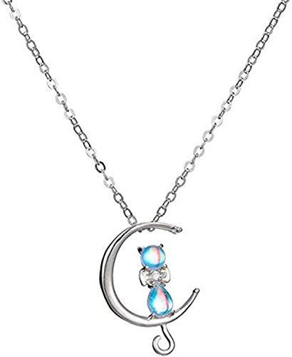 ZPPYMXGZ Co.,ltd Necklace Silver Feminine Temperament Sweet Moon Cat Necklace