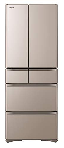 日立 冷蔵庫 475L 6ドア 強化ガラスドア 観音開き 日本製 幅68.5cm 真空チルド R-XG48J XN クリスタルシャンパン