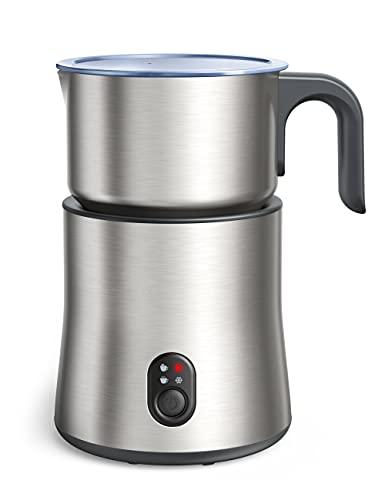 Milchaufschäumer Elektrisch, 500mL Milchschäumer Hohe Kapazität aus Edelstahl 4 in 1 Milchschaum für warmer & kalter Schaum, warme Schokolade, kabelloser Milchbehälter