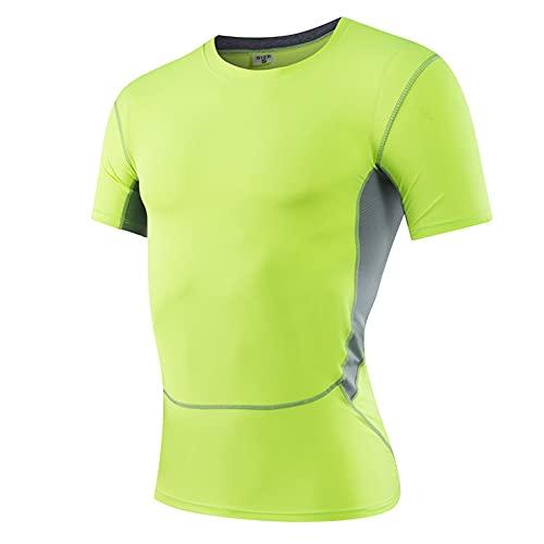 Deportiva Camisa Hombre Verano Moda Empalme Cuello Redondo Hombre Camiseta Moderno Básico Ajustado Elástico Hombre Manga Corta Gimnasio Aire Libre Deportes Transpirable Shirt