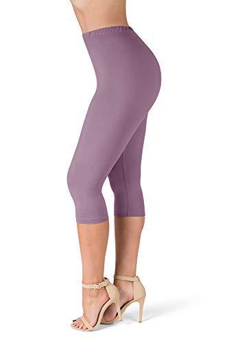 "SATINA High Waisted 1"" Waistband Ultra Soft Capris Leggings - 22 Colors - (OS, Lavender)"