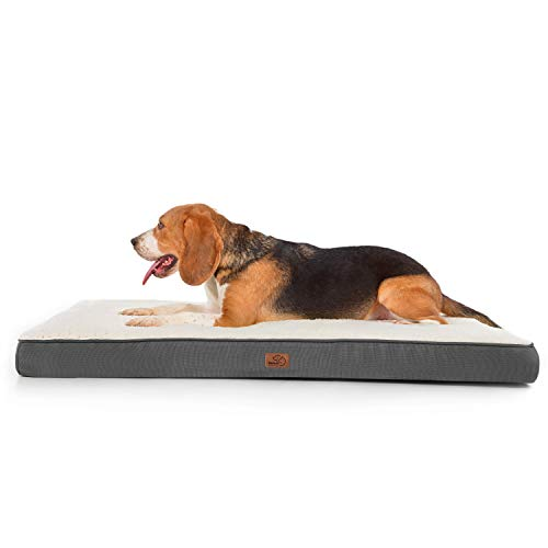 Bedsure Jumbo Dog Bed for Large Dogs Up to 125lbs - XXL Orthopedic Dog Beds with Removable Washable Cover, Egg Crate Foam Pet Bed Mat, Grey