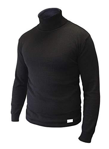 Wølmark Finland DAIFA - Suéter de lana de alpaca para bebé, 100% negro, doble cuello alto, jersey de punto de invierno para senderismo, fabricado en el norte de Europa