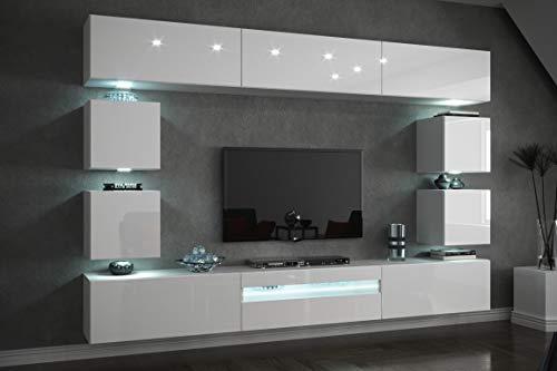 Furnitech Future C81 Wohnzimmer Wandschrank Mediawand mit Led Beleuchtung Schrankwand Wohnwand Möbel (C81-HG-W2 1B (273 cm), LED blau)