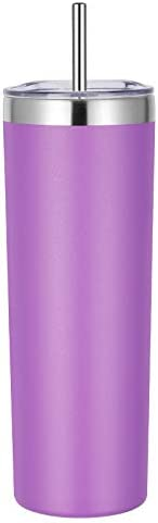 VEGOND Stainless Steel Skinny Tumbler 20 oz Vacuum Insulated Tumbler with Lid and Straw Double product image