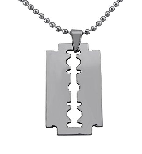 Hanessa Schmuck für Männer Rasier-Klinge Messer Anhänger Herren Halskette Edelstahl-Kette in Silber Geschenk für den Freund/Mann