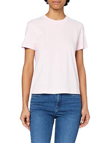 Calvin Klein Jeans Shrunken INSTITUTIONAL tee Cuello extendido, Rosa Perlado, XL para Mujer