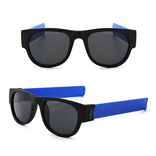 YFAX, Pulsera Slap Sunglasses, Gafas de Sol polarizadas Flexibles Plegables, Gafas polarizadas de Marco, Gafas de Sol papá-A1