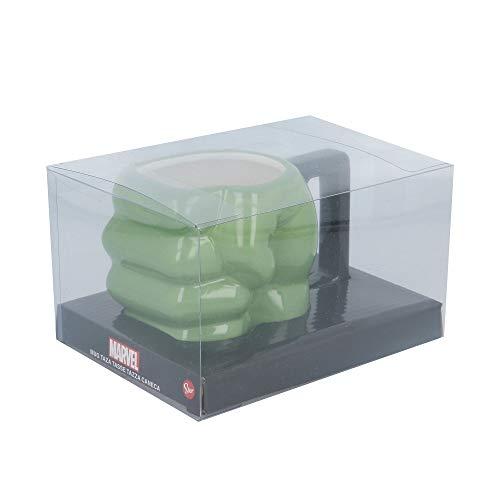 TAZA CERAMICA 3D PUÑO 450 ML HULK EN CAJA REGALO
