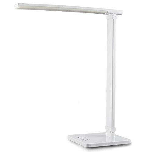 Lámpara Escritorio LED de Mesa I de Noche I Regulable 7 Niveles de Brillo I 5 Temperaturas de Color I Control Táctil I Flexos para Estudio Lectura Leer I Blanca I Plástico I 5W USB