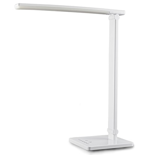 B.K.Licht - LED Lámpara Escritorio, 5W con USB, 7 Niveles de Brillo, 5 Temperaturas de Color, Control Táctil, Blanco