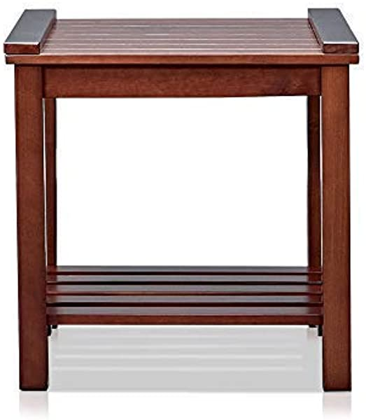 MUSEHOMEINC Wood End Table Night Stand With 1 Tier Wooden Slats Storage Shelf Multipurpose Home Furniture Espresso Finish