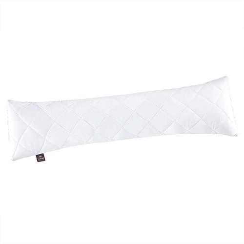 """Sei Design Oreiller pour dormeurs de côté Collection """"Classic Dream"""", Microfibre, 140 x 40 cm, Blanc, matelassé en Forme de Cubes"""
