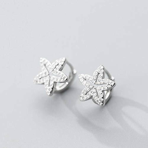 WOZUIMEI S925 Hebilla de Hongo Blanco Estilo Coreano Femenino Dulce Estrella Tachonada de Diamantes Hebilla de Oreja Temperamento Linda Niñapendientes