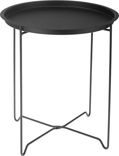 Mesa auxiliar de metal negro con bandeja, plegable, mesa de café