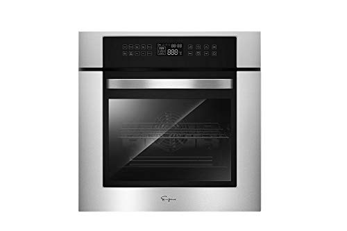 """Empava 24"""" Electric Convection Single Wall Oven 10 Cooking Functions Deluxe 360° ROTISSERIE with Sensitive Touch Control in Stainless Steel, Silver"""