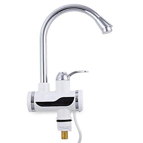 Elektrische Wasserhahn LED Temperaturanzeige Heizung Wasserhahn Spültischarmatur Mischbatterie für Küche und Bad (Weiß)