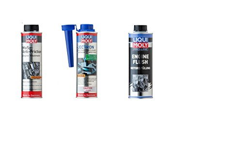 Liqui Moly 2007 Jectron Gasoline Fuel Injection Cleaner, 2009 Anti-Friction Oil Treatment & 2037 Pro-Line Engine Flush - Combo