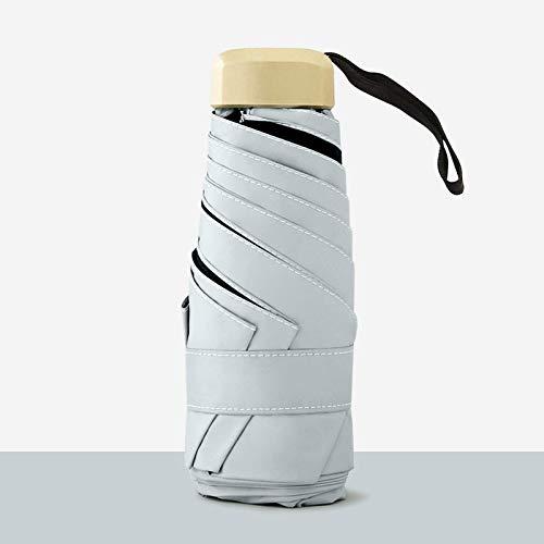 50% de descuento en sombrilla de seis huesos a prueba de sol, mini sombrilla de bolsillo, vinilo plegable para lluvia y sombrilla para lluvia