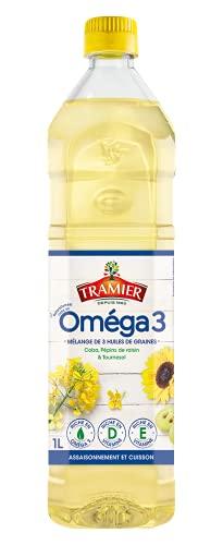 Tramier Huile Mélangée Riche en Oméga 3 ( 1x 1 L ) mélange d'huile de colza, huile de pépins de raisin et huile de tournesol, bouteille d'huile riche en vitamines D et E