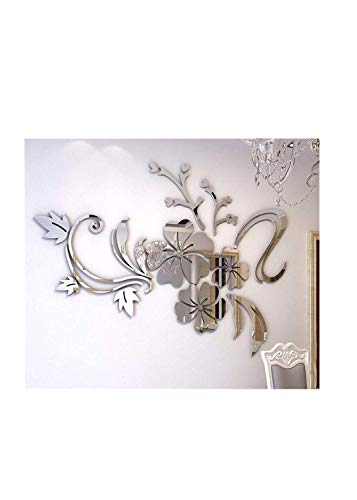 Muicook 3D Mirror Floral Wall Sticker Art Removable Acrylic Mural Decal Home Room Decor(Silver)