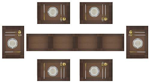 6er Platzdeckchen mit einem Tischläufer,Eageroo Rutschfest Abwaschbar Tischmatten aus PVC Abgrifffeste Hitzebeständig Tischsets Schmutzabweisend, Braun